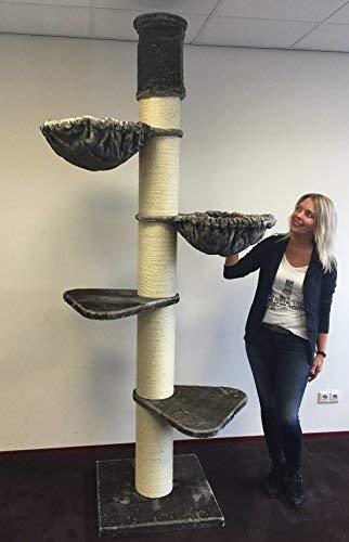 Rascador grandes gato XXL Maine Coon Tower gris pardo Altura del techo 245 – 265 cm