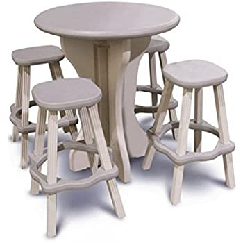This Item Leisure Accents Bistro Set, 30 Inch Round With 4 Stools,  Gray/Beige