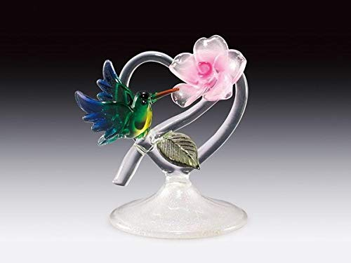 - DAR Giftware Blown Glass Hummingbird and Flower on Heart Figurine Collectible Stands 4 Inches Tall