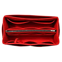 [Fits Neverfull MM/Speedy 30, Red] Purse Insert (3mm Felt, Detachable Pouch w/Metal Zip), Felt Tote Bag Organizer