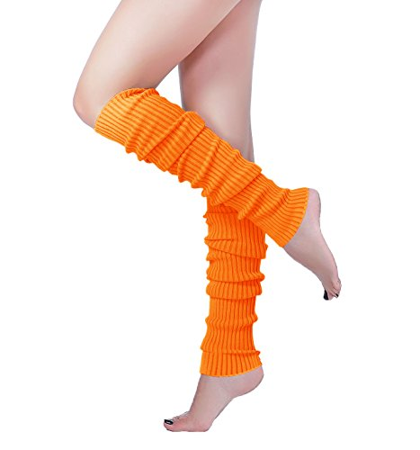 (Long Leg Warmer, V28 Women Men 80s Eighty's Ribbed Knit Dance Sports Leg Warmers)