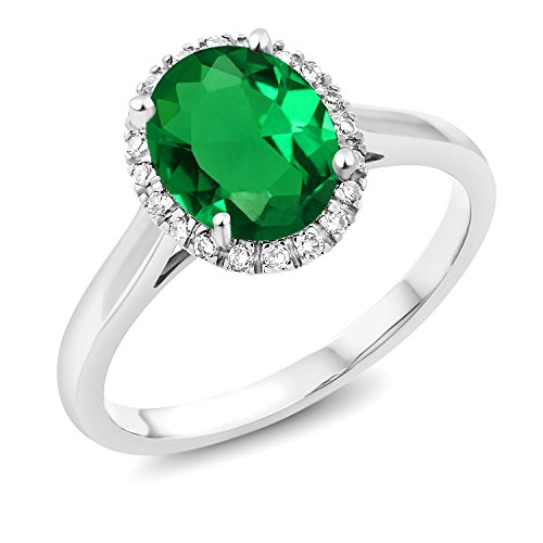 Carats Green 1.50 - Gem Stone King 1.50 Ct Oval Green Simulated Emerald 10K White Gold Ring (Size 7)