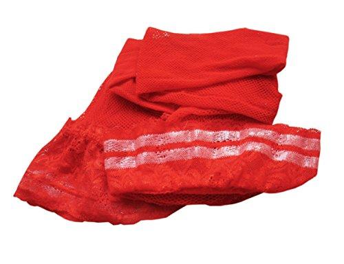 damas antideslizantes medias de red con ancho de encaje costura trasera encima de la rodilla medias de liga con rayas de silicona antideslizante 2 pares / negro rojo