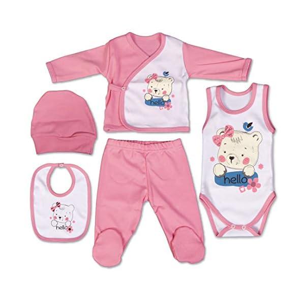QAR7.3 Completo Vestiti Neonato 3-6 mesi - Set Regalo, Corredino da 5 pezzi: Body, Pigiama, Bavaglino e Cuffietta (Rosa… 1