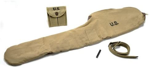 World War Supply US WW2 M1 Carbine Khaki Fleece Lined Carry Case, Sling with oiler and Buttstock Pouch