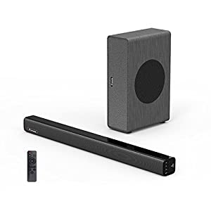 Soundbar with Subwoofer, Wohome TV Sound Bar with Sub Wired and Wireless Bluetooth Audio Home Theater System for TVs (2.1 Channel, 80W, 30 Inch , Wall Mountable, Remote Control)