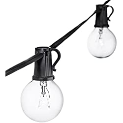 50ft Black String Lights, 60 G40 Globe Bulbs (10 Extra): Connectable, Waterproof, Indoor/Outdoor Globe String Lights for Patios, Parties, Weddings, Backyards, Porches, Gazebos, Pergolas & More