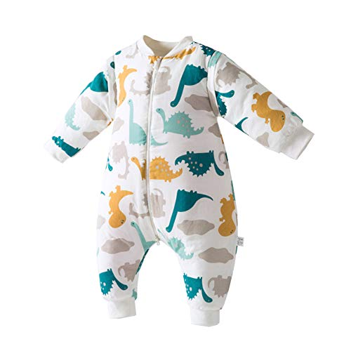 ALLAIBB Unisex Baby Winter Warm Romper Sleeping Bag Bunting Wearable Thick Blanket Size 2-3T (Dinosaur)