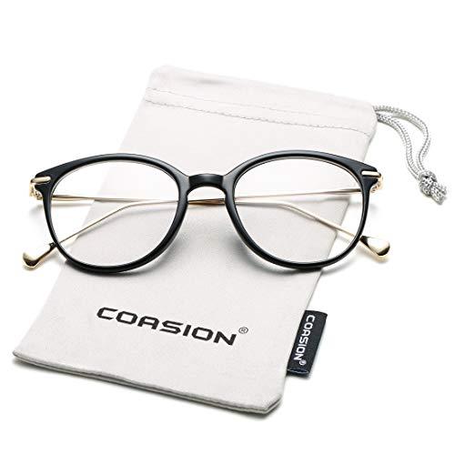 COASION Vintage Round Clear Glasses Non-Prescription Eyeglasses Frames for Women Men (Bright Black/Gold)