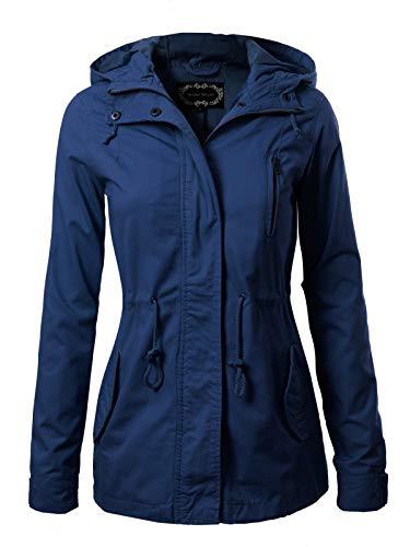 Instar Mode Women's Military Anorak Safari Hoodie Jacket Navy Blue XL