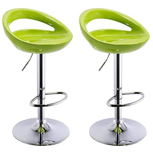 Duhome 2 PCS Swizzle Gloss Finish Crescent Shape Adjustable Swivel Bar Stools Kitchen Counter Top (Green) ()
