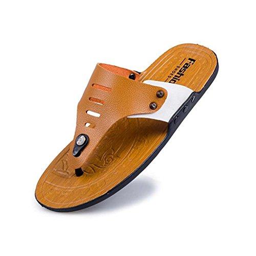 ZXCV Zapatos al aire libre Los hombres de verano de caracteres de gancho de clip de pies de color puro al aire libre de los hombres transpirables de los zapatos Marrón