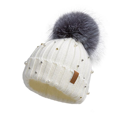 Pilipala Women Knit Winter Turn up Beanie Hat by With Pearl and Fur Pompom VC17605 White Gray Pompom (Ski Outfit)