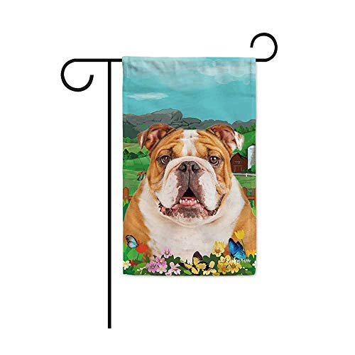 BAGEYOU Welcome Spring Summer Bulldog in The Flowers Decorative Garden Flag Cute Dog Puppy Butterflies Farm Country Village Home Decor Banner for Outside 12.5X18 Inch Print Double Sided