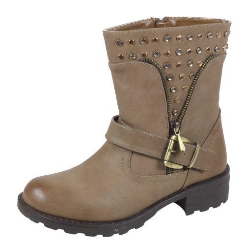 Jennika , Boots Biker Femme Gris - Kaki