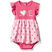 Bon Bebe Baby Girls' 1 Piece Sundress With Built In Diaper Cover, Pink hearts, 0-3 Months