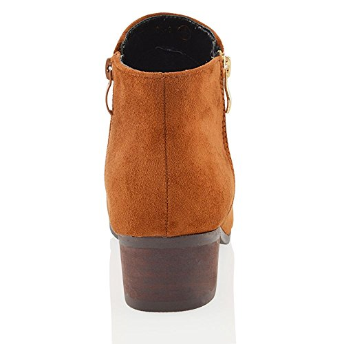 Block Zipper Heel Tan Shoes Boots Womens GLAM Faux Suede ESSEX Ankle Low XFAZqn