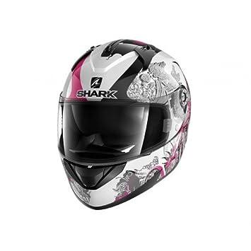 Shark Tiburón ridill primavera wkv motocicleta cascos, color blanco/negro/morado, talla