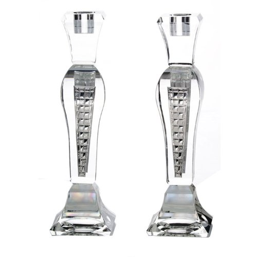 Crystal and Silver Shabbat Candlesticks in Brick Design / Set of 2
