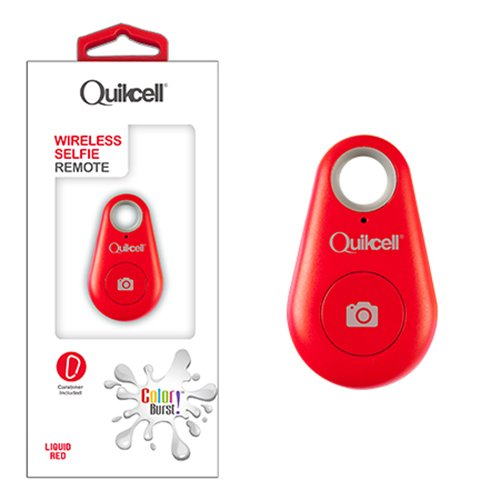 Quikcell Selfie Shutter Remote Bluetooth Headset for Apple & Android - Retail Packaging - Red