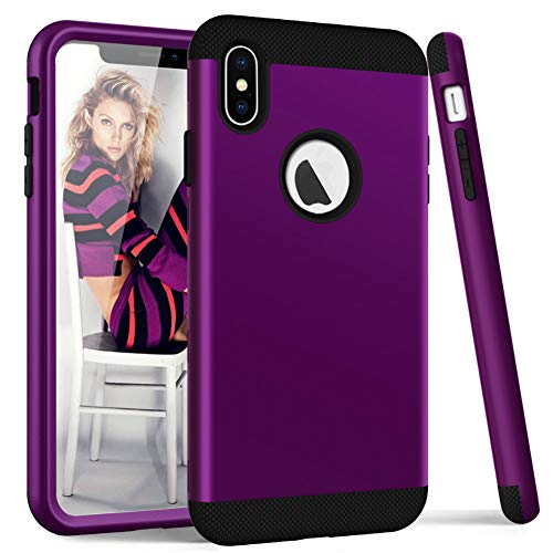 Price comparison product image iPhone Xs Max Case, TCM 3 in 1 Hybrid Heavy Duty Shockproof Hard Back Durable Protective Phone Case for iPhone Xs Max-Dark Pruple