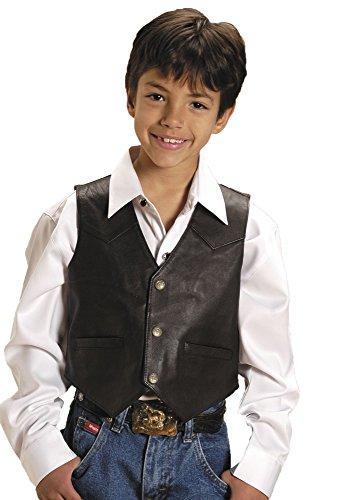 Roper Boys' Lambskin Leather Vest Brown - Vest Leather Childs
