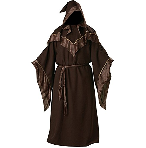 Mystic Sorcerer Costume (Halloween Medieval Monk Robe Dark Mystic Sorcerer Religious Godfather Wizard Hooded Costume Cape)