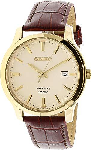 Mens Quartz Sapphire (Seiko Quartz Sapphire Cream Dial Leather Band Mens Watch SGEH44)