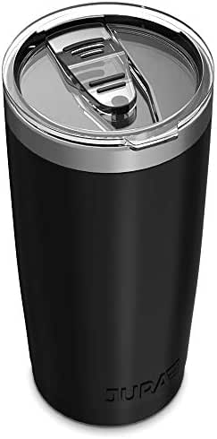 Jura Outdoor Tumbler 20 oz Stainless Steel Vacuum Insulated with Lids and Straw [Travel Mug] Double Wall Water Coffee Cup for Home, Office, Outdoor Works Great for Ice Drinks and Hot Beverage - Black