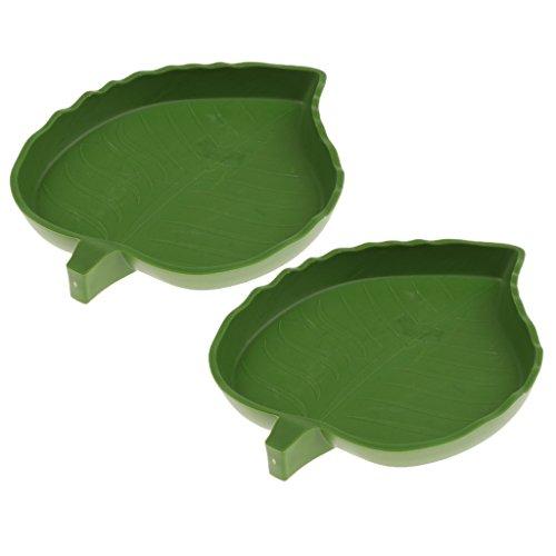 Baoblaze 1/2/5Pcs Shallow Reptile Amphibians Food Water Dish Corner Bowl for Small Snake Lizard Gecko Turtle - Big Leaf