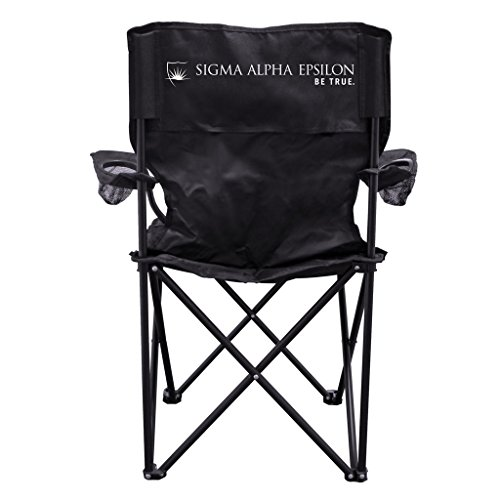 Sigma Alpha Epsilon Be True Black Folding Camping Chair with Carry Bag