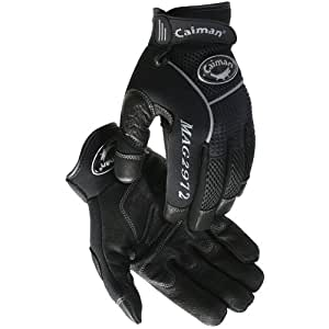 Caiman Multi Activity Gloves Genuine American Deer Grain Leather Gloves (XXL/Black)