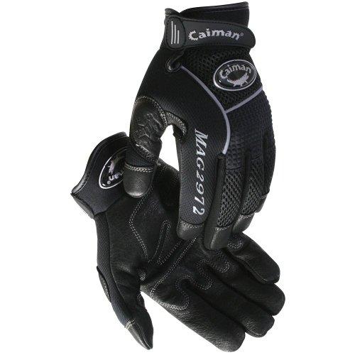 Caiman Genuine American Deer Grain Leather Gloves, XL/Black