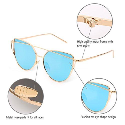 Soleil Twin Lunettes Beams Femmes Chat Mirror Lunettes de Classique Golden Bleu Mode Frame Quceyu qpSAY