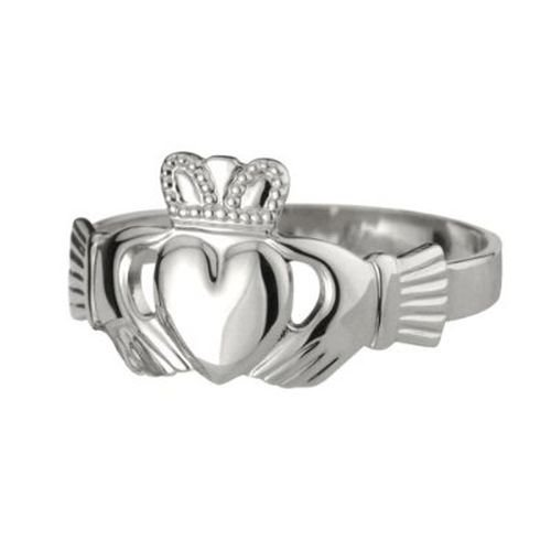 Claddagh Ring Puffed Mens Silver Irish Made 12