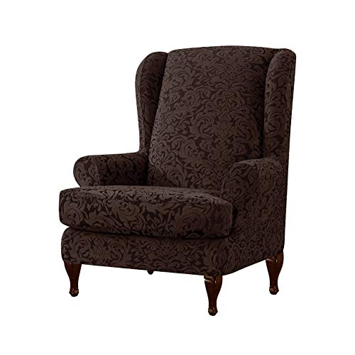 Subrtex 2-Pieces Spandex Jacquard Damask Elastic Arm Chairs Wingback Chair Cover Waffle Fabric Wing Back Furniture Protector Stretch Sofa Slipcovers for Living Room(Brown,Wing Chair)