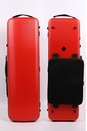 - 4/4 New violin Case Mixed carbon fiber Strong Light Oblong Case Full size (Red)