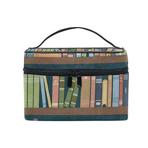 Makeup Organizer Bookshelf In The Library Bookworm Womens Zip Toiletry Bag Large Case Cosmetic Bags
