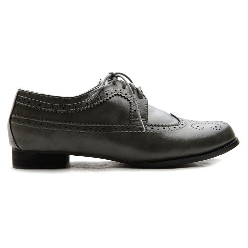 Up Heels Low Shoe Dress Wingtip Women's Lace Oxford Grey Ollio Cgwqtn1HC
