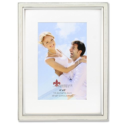 (Lawrence Frames 4x6 Ivory Enamel and Silver Metal Frame-6x8 Without Mat Picture Frame)