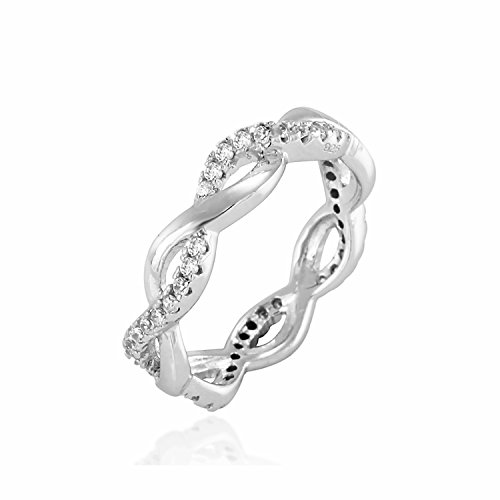 Chuvora 925 Sterling Silver CZ Infinity Twist Ring, Forever Love, Wedding Engagement Promise Ring -Size (Best Chuvora Promise Rings)