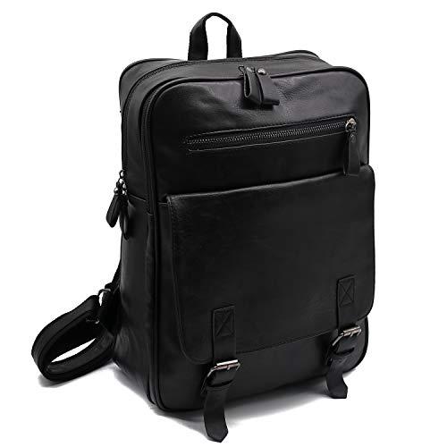 Backpacks High School, Pu Leather Backpack Vintage Bag for Women and Men Camping Pack Travel Water Resistant Laptop 15Inch Rucksack Daypack,Black