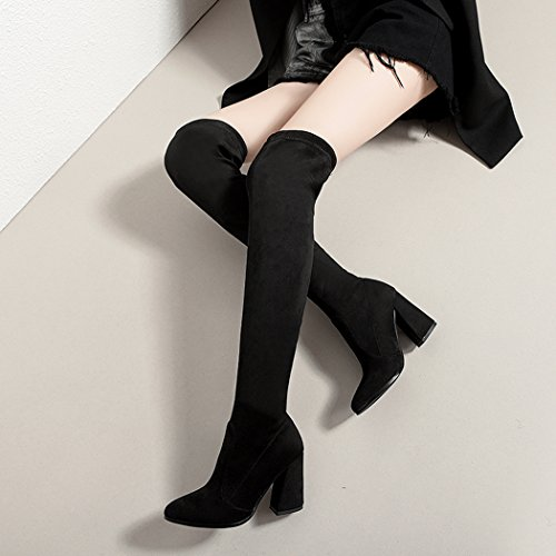 high Women's Shoes Boots Thick Stretch Lady's Black The Fashion Heels Knee Over Thigh Boots high vSOn7wq