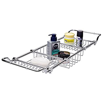 Image of Home and Kitchen Magionline Brass Over Bathtub Racks Expandable Bath Caddy for The Elegant Tub Chrome Polished