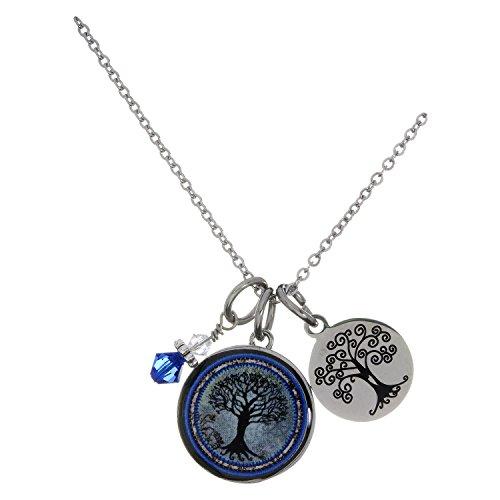 Spirit Lala Tree of Life Dark Blue Circular Reversible Pendant Necklace With (Crystal Circular Charm)