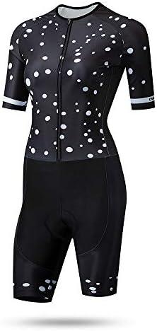 サイクルジャージ 女性のトライアスロンスーツ夏乗馬スーツレディーススケートスーツ汗吸収性通気性半袖UV保護 吸汗速乾高通気 (色 : ブラック, サイズ : M)