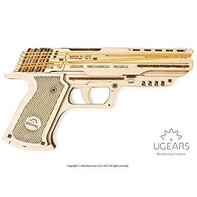 Ugears 70047 Wolf 01 Pistola In Gomma Modello In Legno Set Per Costruzioni Sicura Ed Ecologica In Legno Taglia Unica