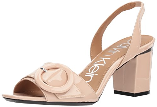 Calvin Klein Women's Claudia Heeled Sandal, Sheer Satin, 8.5 Medium US (Calvin Satin Dress Klein)