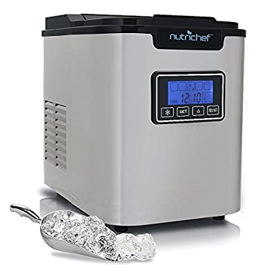 Countertop Digital Ice Cube Maker - Upgraded Portable Stainless Steel Ice Molder Machine, Stain Resistant w/Built-in Freezer, Over-Sized Ice Bucket Machine w/Easy-Touch Buttons, Silver - NutriChef