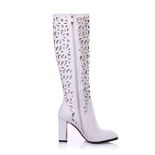 Hollow Frosted Sole High Boots Non PU Allhqfashion Women's Slipping White Heels and with Out qzETnPxn